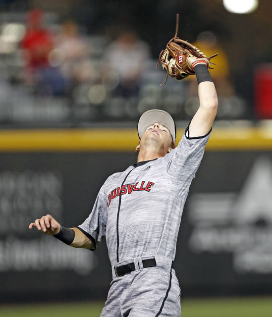 d00a4ea83 Louisville's Tyler Fitzgerald catches a fly ball during the team's NCAA  college baseball tournament regional game against Texas Tech, Saturday,  June 2, 2018 ...